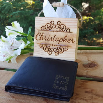 Custom Wallet With engraved Initials. Groomsmen Gift-Valentine's day gift -Boyfriend Gift-gift for him