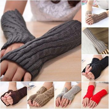 Ladies Winter Arm Warmer Gloves Elbow Long Crochet Fingerless Mitten Knit Gloves