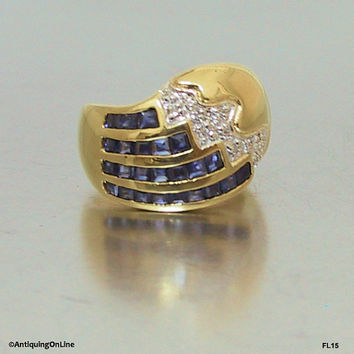 Vintage 14K Sapphire Diamond Ring 1970s, 585 Sapphire Diamond Fashion Ring, Patriotic Jewelry