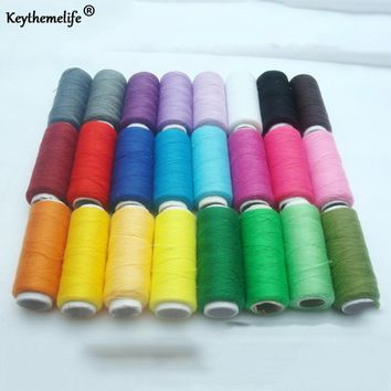 Keythemelife 1Set 24Pcs Sewing Threads Colorful 200 Yards Machine Embroidery Thread Home Cotton Thread Craft Patch Supplies DF