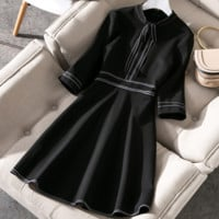 Women's autumn and winter new stand-collar seven-point sleeves bow Slim dress
