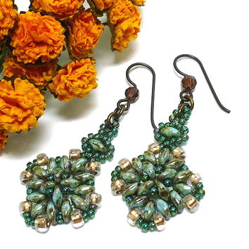 Aqua Travertine and Green Iris Beadwoven Handmade Dangle Earrings | KatsAllThat - Jewelry on ArtFire