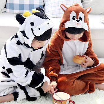 Cartoon Cow Squirrel  Animal Onesuit Flannel Unisex Cosplay Costume Pajamas Soft Children Pijama Infantil Menino