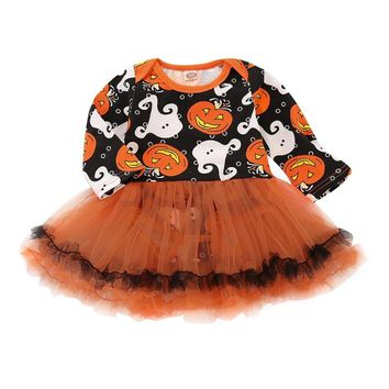 1 Set Baby Girls Halloween Pumpkin Ghost Tulle Dress Newborn Toddler Party Costume New For Girl