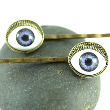Eyeball Hairpins, Evil Eye Bobby Pins, Blue Eyes Hair Accessories, Eyeball Bobbies, Quirky Hair Accessory, Quirky Jewelry