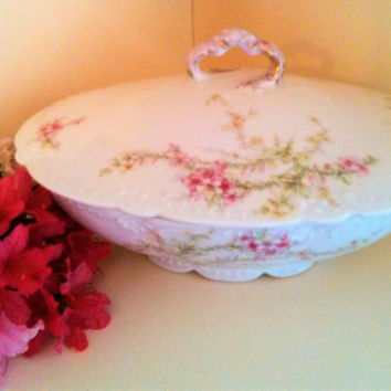 Antique Victorian Limoges Elite France Hand Painted Fine Porcelain Covered Vegetable Dish Elite Works France Bawo & Dotter Vegetable Dish