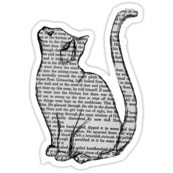 'Book Cat' Sticker by Cirtolthioel