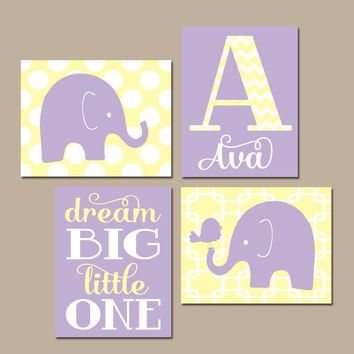 GIRL ELEPHANT Nursery Wall Art, Lavender Yellow Nursery Decor, Baby Girl Nursery Pictures, Dream Big Little One, Canvas or Prints Set of 4