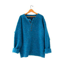 Vintage speckled blue sweater. Oversized sweater. Henley Sweater. Wool boyfriend sweater. Button down sweater.