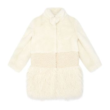 Ermanno Scervino Mixed Faux-Shearling Coat Ivory | Harrods