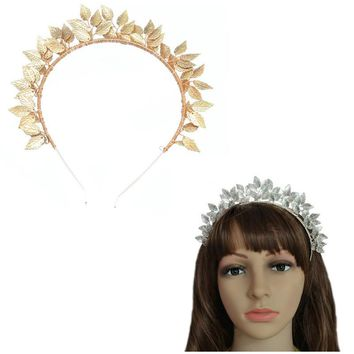 Luxury Wedding Hair Accessories Handmade Leaves Baroque Queen Gold Color Crown Tiara Headband Hairpiece Bridal HeadPiece Jewelry