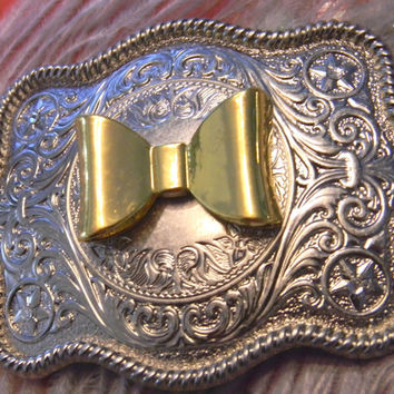 Gold Bow Belt Buckle, Silver Western Engraved Womens Girls Belt Buckle, Gold Bow Belt,