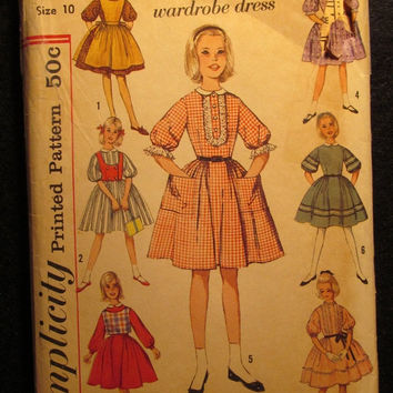Sale 1960's Simplicity Sewing pattern, 4059! Size 10 Girls/Kids/Child Full Flared Dress/7 day Wardrobe/Set in Sleeves/Apron/weskit/Wide Coll