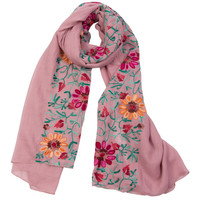 Plum Floral Pattern Textured Oversized Scarf