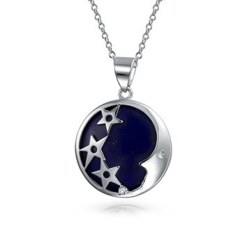 Celestial Crescent Moon Star Lapis Pendant Necklace Sterling Silver
