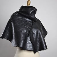 OOAK Leather Cape - Leather Cape Poncho - Leather Caplet - Leather Cape - Goth - Bolero Leather Jacket