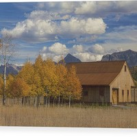 Rocky Mountain Autumn Country Barn Wood Print