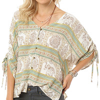 White & Green Bex Button-Up Top