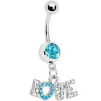Aqua Gem Love Script Belly Ring | Body Candy Body Jewelry
