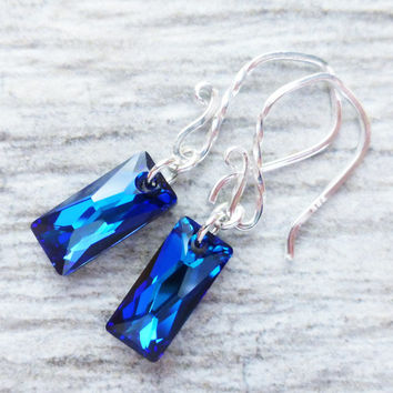 Bermuda Blue Crystal Earrings, Swarovski Dangle Earrings, Sterling Silver, Column Crystal, Prism Earrings, Ocean Blue, Beach Jewelry