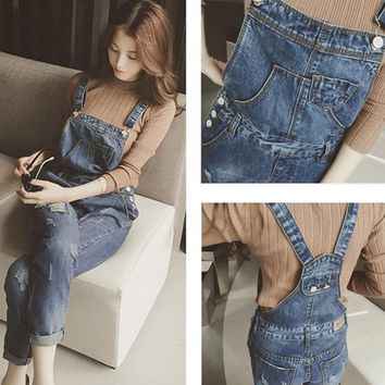 2017 Women Ripped Jean  Solid Vintage Denim Pencil Pants Overalls with Pockets H9