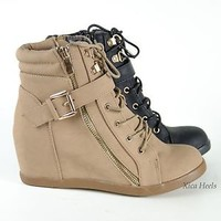 Women Ankle Booties Heel Wedge Lace Up Fashion Ladies Boots Shoes Black Or Beige