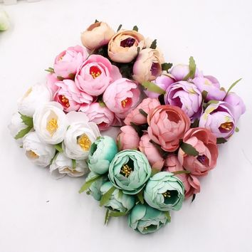 6pcs Rose  Flowers Bride Bouquet For Wedding Party Flores Home Hats Decoration Marriage Wreath Plants rose flower
