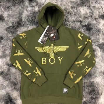 BOY LONDON autumn and winter new trend eagle hot stamping arm full printing plus velvet couple hooded sweater green