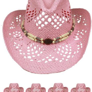 cut out open light pink cowboy hat with beads band Case of 72