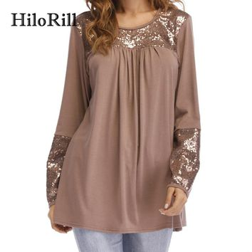 HiloRill Ccamiseta Feminina 2018 Spring T Shirt Women Casual Long Sleeve Tshirt With Sequins Tops Tunic Elegant Blusas Plus Size
