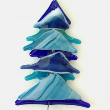 Fused Glass Abstract Christmas Tree - Blue Glass Tree - Christmas Ornament - Glass Christmas Tree - Christmas Decor