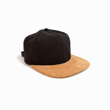Vintage Wool & Leather Baseball Cap Hat - one size