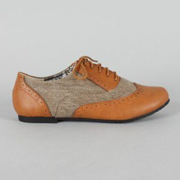 Nikki-02 Perforated Lace Up Oxford Flat