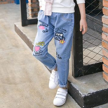 Children's Garment 2017 Spring New Pattern Korean Girl Doodle Jeans Child Trend Jeans Product Kids Trousers