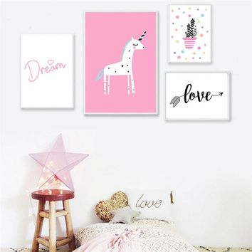 Kawaii Unicorn Pink Cartoon Poster Nursery Wall Art Canvas Painting for living room Decoration Nordic Baby Girl Bedroom Decor