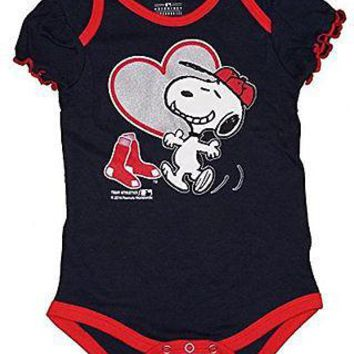 Boston Red Sox Infant Girls Creeper Snoopy Peanuts Baby Romper MLB Apparel