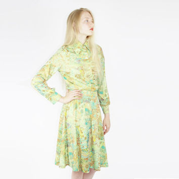 vtg 70s coord set matching two piece green psychedelic boho outfit skirt coord set bohemian outfit art nouveau print small sm s