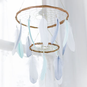 Dream Catcher Chandelier Mobile - Mint Grey White Dream Catcher Chandelier Mobile Boho Baby Mobile Tribal Crib Nursery Baby Girl Baby boy