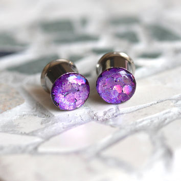Purple Glitter Gauges, Sparkle Plugs, Purple Plugs, Glitter Plugs, Summer Plugs - sizes 0g, 00g, 7/16, 1/2, 9/16, 5/8, 3/4, 7/8, 1""