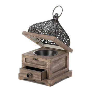 Iron Small Flip-Top Wooden Candle Holder Lantern