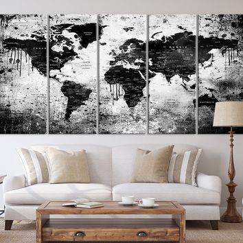 54255 - Watercolor Black World Map Wall Art Canvas Print for Living and Dining Room Decorations