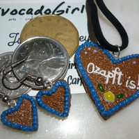 German Gingerbread Heart Necklace & Earrings Set