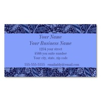 Floral and Ribbon in Blue Double-Sided Standard Business Cards (Pack Of 100)