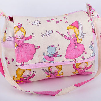kids bag girl handbag fabric handbag princess pink shoulder bag gift for girls unique gift idea accessoire fabric bag washable