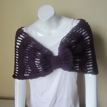 Capelet with bow, shrug, shawl, infinity scarf, cowl, poncho, PURPLE capelet, scarf, wrap scarf, stole