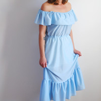 70's boho dress, baby blue, western, bare shoulders