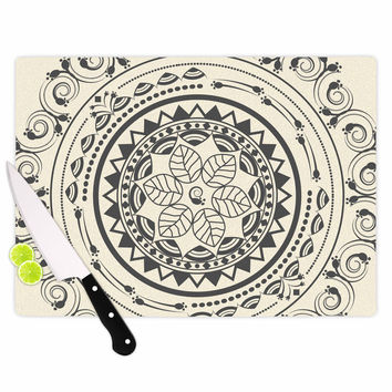 "Famenxt ""Boho Folk Mandala"" Beige Black Digital Cutting Board"
