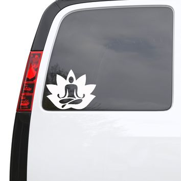"Auto Car Sticker Decal Lotus Meditation Yoga Zen Flower Truck Laptop Window 6.3"" by 5"" Unique Gift 684igc"