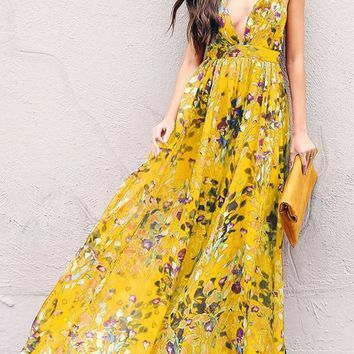 Yellow Floral Draped Spaghetti Strap Flowy Deep V-neck Bohemian Elegant Party Maxi Dress