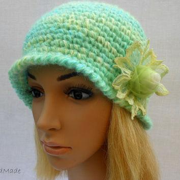 Chunky Crochet Womens Ladies Teens 192O Elegant Flapper Cloche beanie brimmed Hat Lime Green Yellow Mohair Angora Wool Vintage Style